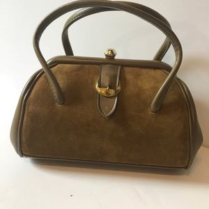 Vintage satchel, brown suede